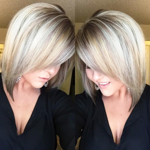 18 Hot Angled Bob Hairstyles: Shoulder Length Hair, Short Hair Cut For Extreme Angled Bob Haircuts With Pink Peek A Boos (View 1 of 25)