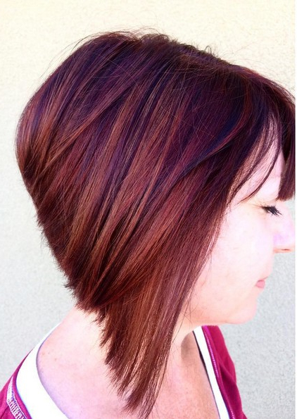 18 Hot Angled Bob Hairstyles: Shoulder Length Hair, Short Hair Cut With Extreme Angled Bob Haircuts With Pink Peek A Boos (View 4 of 25)