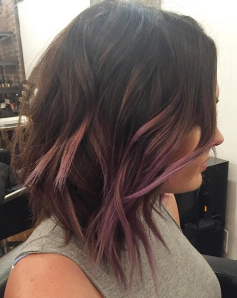 18 Hot Angled Bob Hairstyles: Shoulder Length Hair, Short Hair Cut With Extreme Angled Bob Haircuts With Pink Peek A Boos (View 3 of 25)