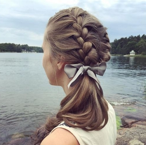 19 Pretty French Braid Ponytail Ideas: Summer Hairstyles For 2017 Intended For Messy Double Braid Ponytail Hairstyles (View 7 of 25)