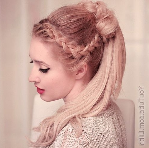 19 Pretty French Braid Ponytail Ideas: Summer Hairstyles For 2017 Regarding Triple Braid Ponytail Hairstyles (View 10 of 25)