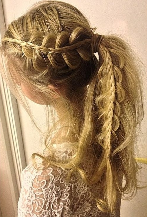 19 Pretty French Braid Ponytail Ideas: Summer Hairstyles For 2017 With Regard To Messy Double Braid Ponytail Hairstyles (View 8 of 25)