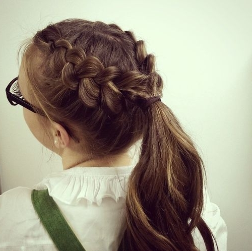 19 Pretty French Braid Ponytail Ideas: Summer Hairstyles For 2017 With Regard To Triple Braid Ponytail Hairstyles (View 17 of 25)
