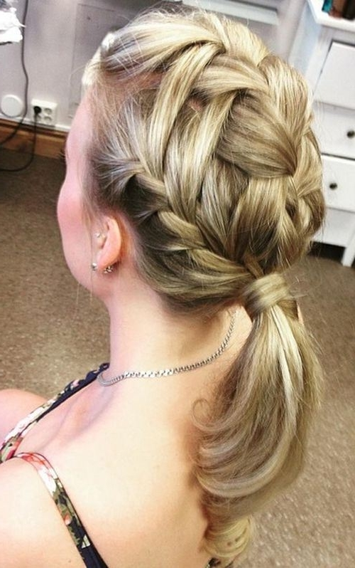 19 Pretty French Braid Ponytail Ideas: Summer Hairstyles For 2017 Within Triple Braid Ponytail Hairstyles (View 6 of 25)