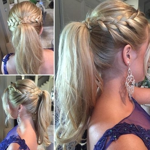 19 Pretty Ways To Try French Braid Ponytails – Pretty Designs Within Wavy Side Ponytails With A Crown Braid (View 18 of 25)