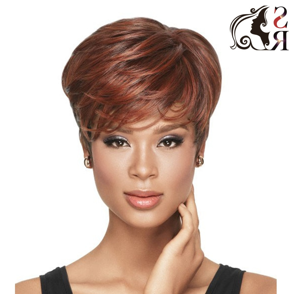 1Pc Short Hairstyles Wigs Synthetic For African American Black Women Regarding Auburn Short Hairstyles (View 9 of 25)