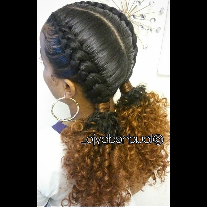 2 Feed In Braids Into Low Ponys | Hair 'spirations | Pinterest Regarding French Braid Ponytail Hairstyles With Curls (View 24 of 25)