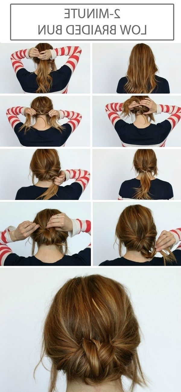 2 Minute Low Braided Bun | Hair Beauty | Pinterest | Braids, Hair Throughout 2 Minute Side Pony Hairstyles (View 5 of 25)
