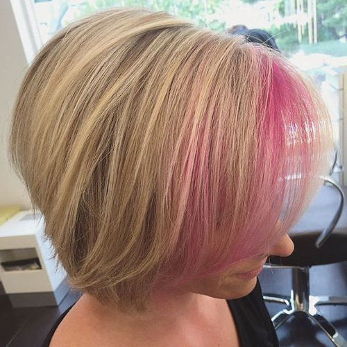 20 Awsome Highlighted Hairstyles For Women – Hair Color Ideas 2019 Inside Extreme Angled Bob Haircuts With Pink Peek A Boos (View 5 of 25)
