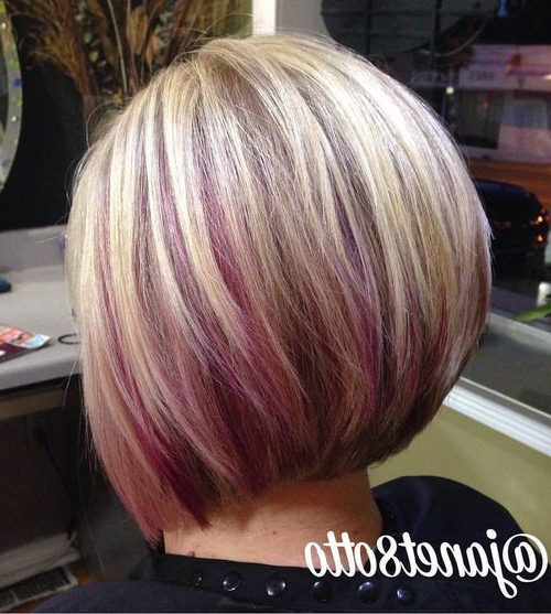 20 Awsome Highlighted Hairstyles For Women – Hair Color Ideas 2019 Regarding Extreme Angled Bob Haircuts With Pink Peek A Boos (View 6 of 25)