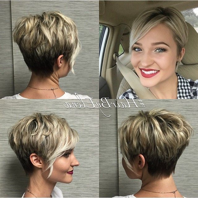 Featured Photo of Rounded Pixie Bob Haircuts With Blonde Balayage