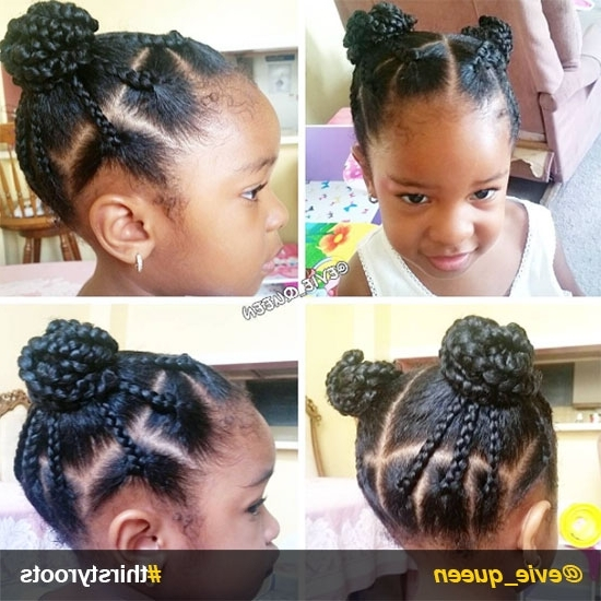 20 Cute Natural Hairstyles For Little Girls Inside Braid And Bun Ponytail Hairstyles (View 7 of 25)