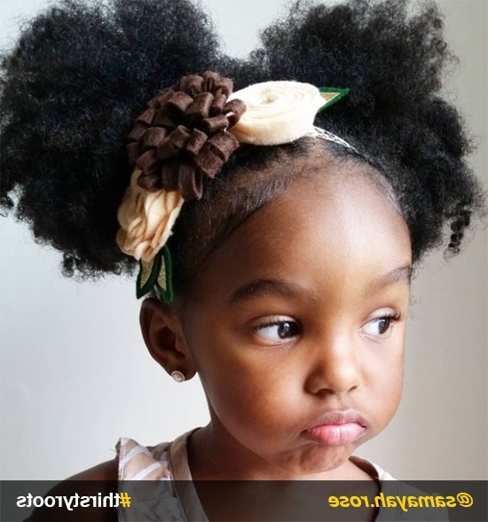 20 Cute Natural Hairstyles For Little Girls Regarding Black Curly Ponytails With Headband Braid (View 3 of 25)