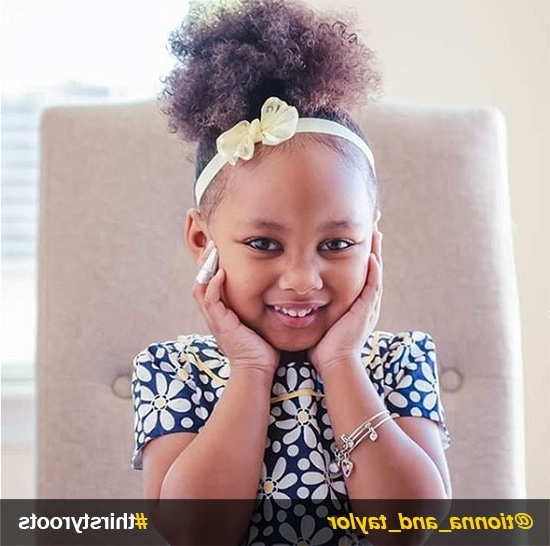 20 Cute Natural Hairstyles For Little Girls Within Black Curly Ponytails With Headband Braid (View 4 of 25)