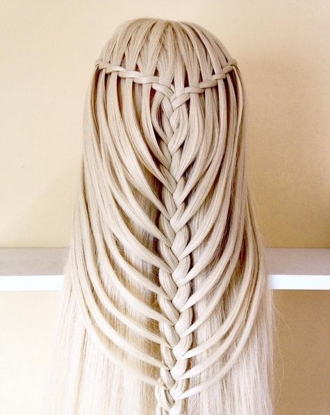 20 Easy, Lovely Waterfall Braid Styles For Short, Medium And Long Throughout Cascading Braided Ponytails (View 24 of 25)