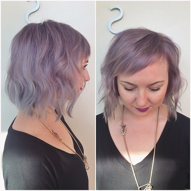 20 Flattering Bob Hairstyles For Round Faces – Popular Haircuts In Lavender Haircuts With Side Part (View 14 of 25)