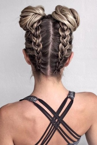 20 Perfect Swimming Hairstyles – Girl Loves Glam Intended For Twin Braid Updo Ponytail Hairstyles (View 22 of 25)