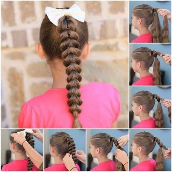 20 Quick And Easy Braids For Kids (Tutorial Included) Throughout French Braid Ponytail Hairstyles With Bubbles (View 21 of 25)