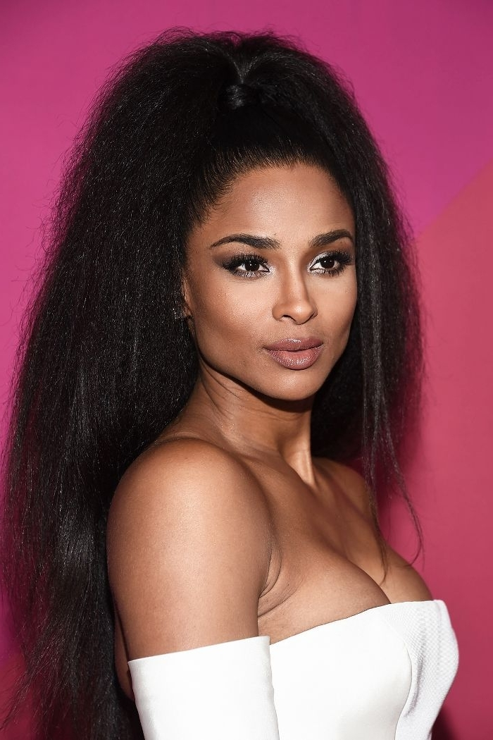 20 Times Celebrities Rocked Gorgeous Slicked Back Ponytails | Byrdie Intended For Sculpted And Constructed Black Ponytail Hairstyles (View 22 of 25)