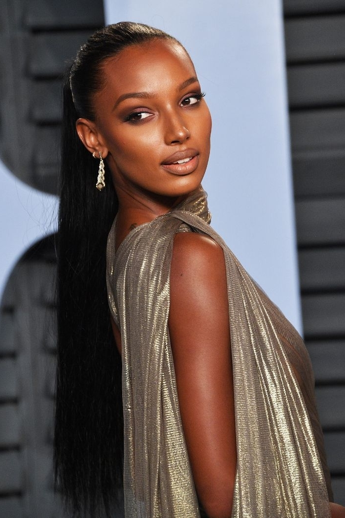 20 Times Celebrities Rocked Gorgeous Slicked Back Ponytails | Byrdie Regarding Sculpted And Constructed Black Ponytail Hairstyles (View 17 of 25)
