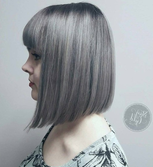 20 Trendy Gray Hairstyles – Gray Hair Trend & Balayage Hair Designs For Straight Cut Two Tone Bob Hairstyles (View 12 of 25)