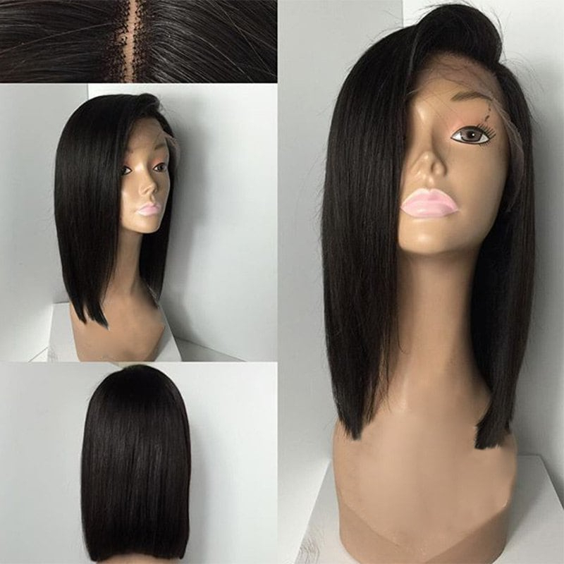 2018 Deep Side Part Medium Straight Bob Lace Front Human Hair Wig In For Side Parted Asymmetrical Gray Bob Hairstyles (View 14 of 25)
