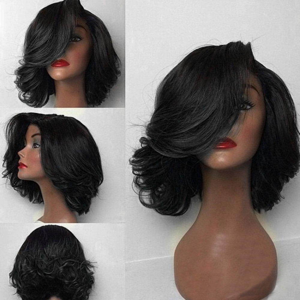 2018 Short Deep Side Part Flip Curly Feathered Bob Synthetic Wig In Intended For Short Hairstyles With Feathered Sides (View 20 of 25)