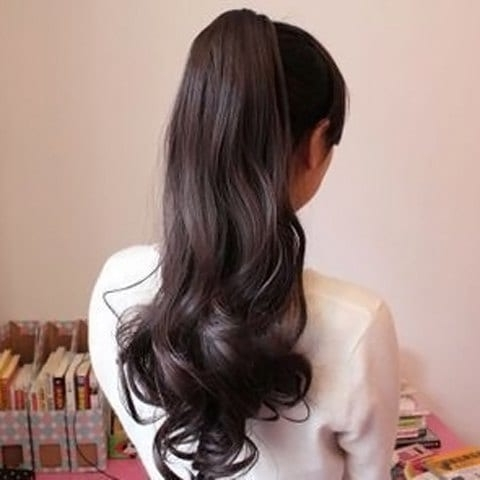 2018 Stylish Charming Drawstring Heat Resistant Fluffy Long Wavy Within Wavy Ponytails With Flower (View 5 of 25)