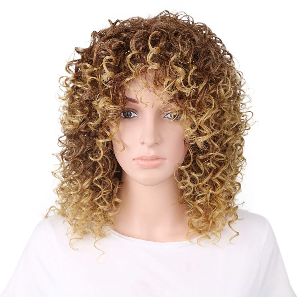2018 Women Golden Blonde Afro Curly Style Short Hair Synthetic Wig For Afro Short Haircuts (View 21 of 25)