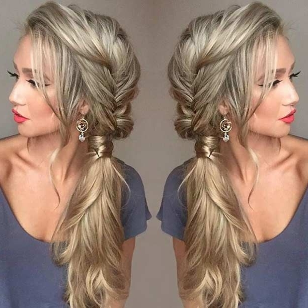 21 Pretty Side Swept Hairstyles For Prom | Hair | Pinterest | Hair Intended For Flowy Side Braid Ponytail Hairstyles (View 3 of 25)