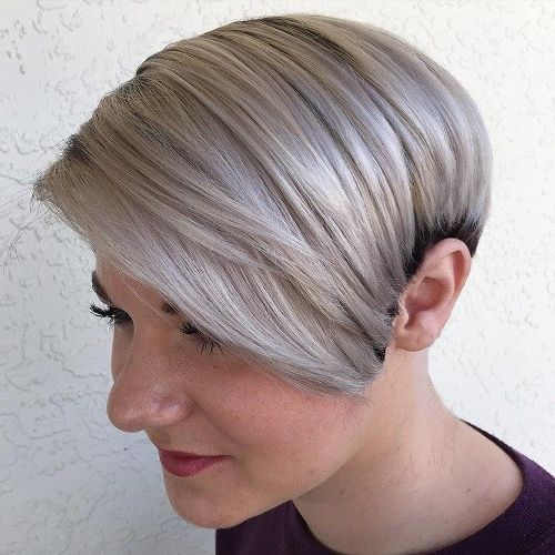 22 Best Colorful Ways To Enhance Your Pixie Haircut: 2017 Short Hair Inside Side Parted White Blonde Pixie Bob Haircuts (View 4 of 25)