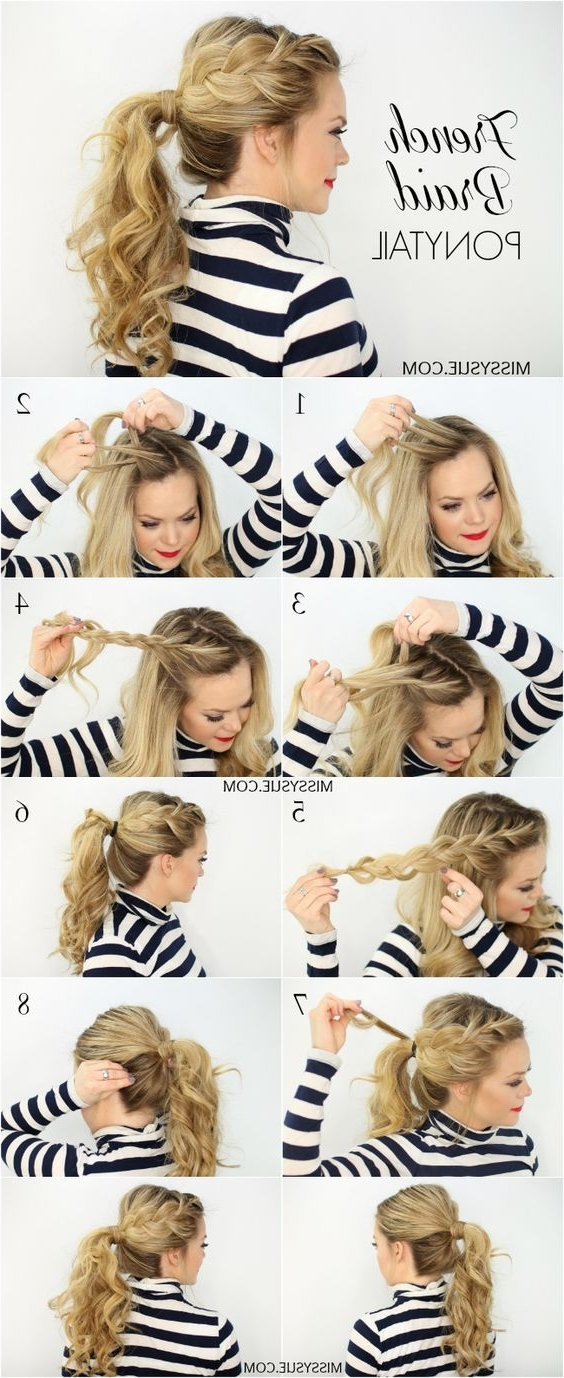 22 Cute Ponytails For Long & Medium Length Hair – Straight, Messy In French Braid Ponytail Hairstyles With Curls (View 25 of 25)
