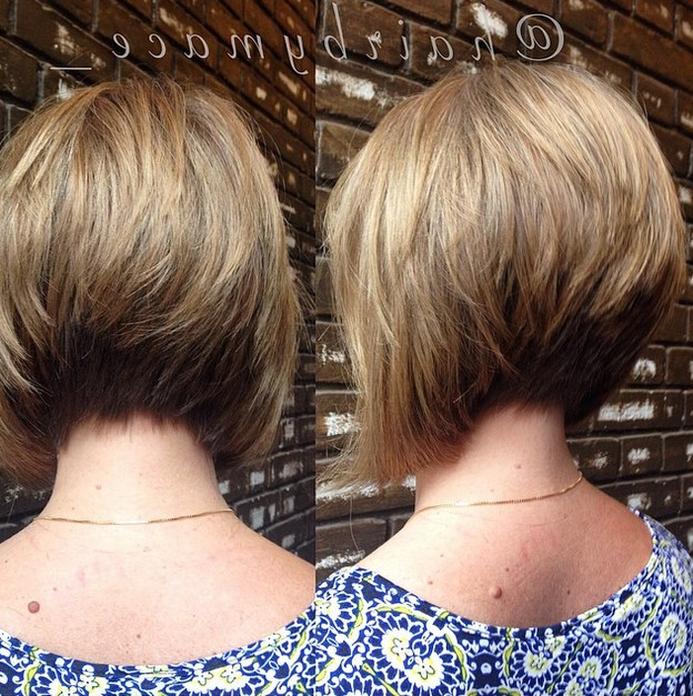 22 Stacked Bob Hairstyles For Your Trendy Casual Looks – Pretty Designs With Frizzy Razored White Blonde Bob Haircuts (View 24 of 25)