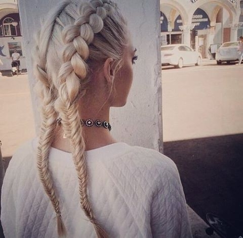 23 Boxer Braid Hairstyles For Summer 2018 | Hairstyle Guru Inside Blonde Ponytails With Double Braid (View 20 of 25)