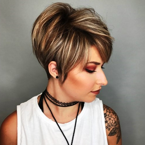 23 Cute And Super Easy Short Hairstyles For Thick Hair With Razored Pixie Bob Haircuts With Irregular Layers (View 5 of 25)