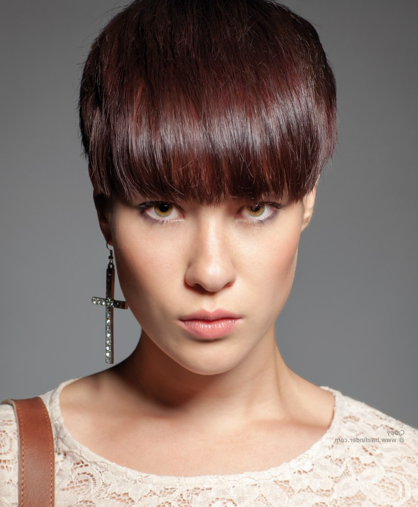 23 Cute Short Hairstyles (With Bangs)   Styles Weekly Throughout Very Short Haircuts With Long Bangs (View 12 of 25)