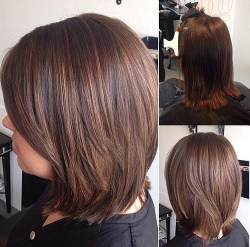 23 Pretty Bob Hairstyles For Mid Length Hair   Styles Weekly With Regard To Straight Cut Bob Hairstyles With Layers And Subtle Highlights (View 5 of 25)