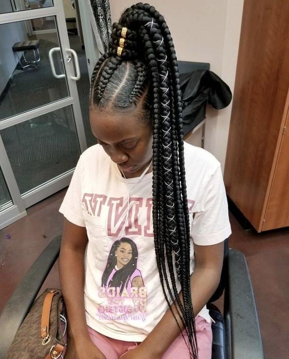 23 Renewed Goddess Braids Ponytail Hairstyles Pertaining To Multicolored Jumbo Braid Ponytail Hairstyles (View 13 of 25)