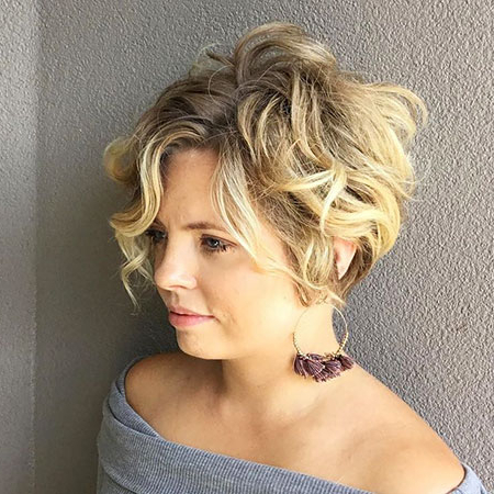 23 Short Curly Blonde Hair | Short Hairstyles 2017 – 2018 | Most Pertaining To Wavy Bronde Bob Shag Haircuts (View 20 of 25)