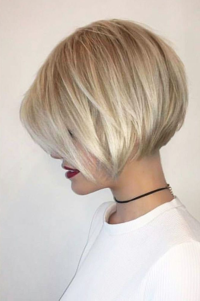 24 Short Hairstyles With Bangs For Glam Girls | Hair, Nails, Skin Inside Short Tapered Bob Hairstyles With Long Bangs (View 2 of 25)