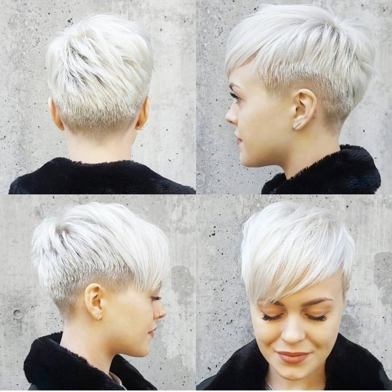25 Edgy Pixie Undercut Ideas To Try Right Now! [October, 2018] Throughout White Bob Undercut Hairstyles With Root Fade (View 15 of 25)
