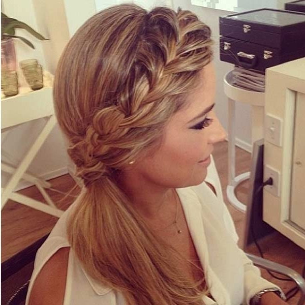 25 Elegant Ponytail Hairstyles For Special Occasions | Stayglam Pertaining To Side Braid Ponytails For Medium Hair (View 24 of 25)