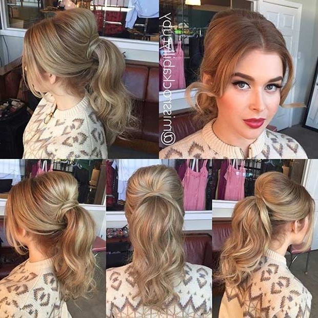 25 Elegant Ponytail Hairstyles For Special Occasions | Stayglam With Twisted Retro Ponytail Updo Hairstyles (View 21 of 25)