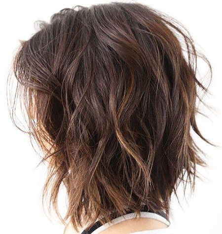 25+ Short Haircuts For Thick Wavy Hair – Love This Hair With Disheveled Brunette Choppy Bob Hairstyles (View 21 of 25)
