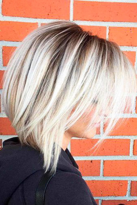 25 Short Straight Blonde Hairstyles 2017 – 2018 | Short Hairstyles Throughout Stacked Sleek White Blonde Bob Haircuts (View 18 of 25)