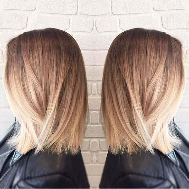 27 Beautiful Long Bob Hairstyles: Shoulder Length Hair Cuts Intended For Straight Textured Angled Bronde Bob Hairstyles (View 10 of 25)