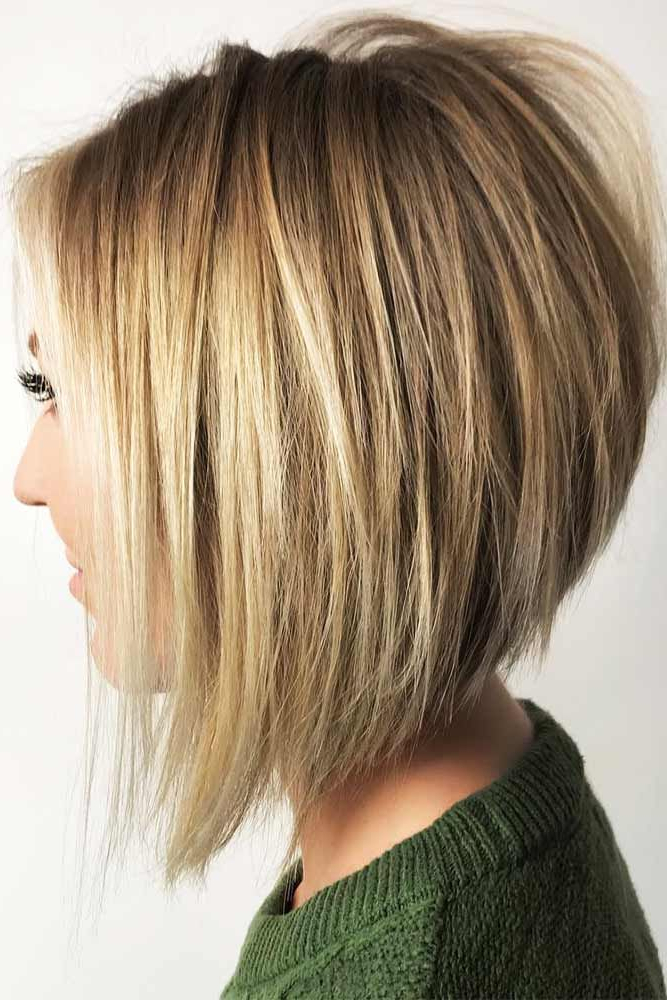 27 Ideas Of Inverted Bob Hairstyles To Refresh Your Style With Straight Textured Angled Bronde Bob Hairstyles (View 3 of 25)
