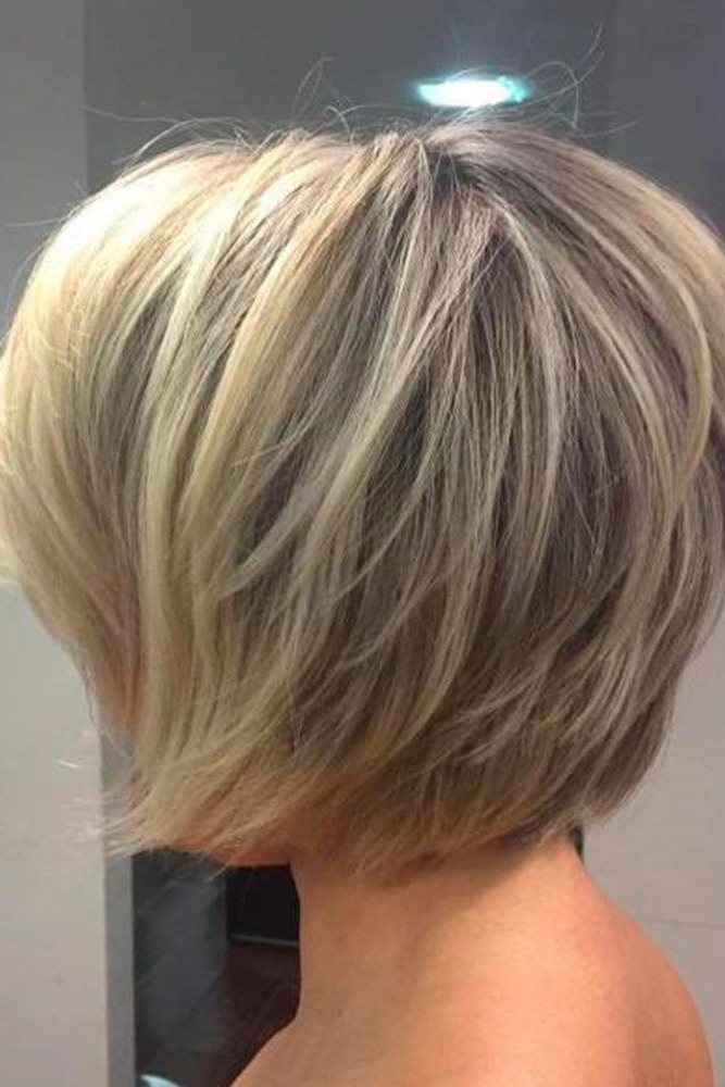 28 Adorable Short Layered Haircuts For The Summer Fun   Haircut Throughout Silver Balayage Bob Haircuts With Swoopy Layers (View 11 of 25)
