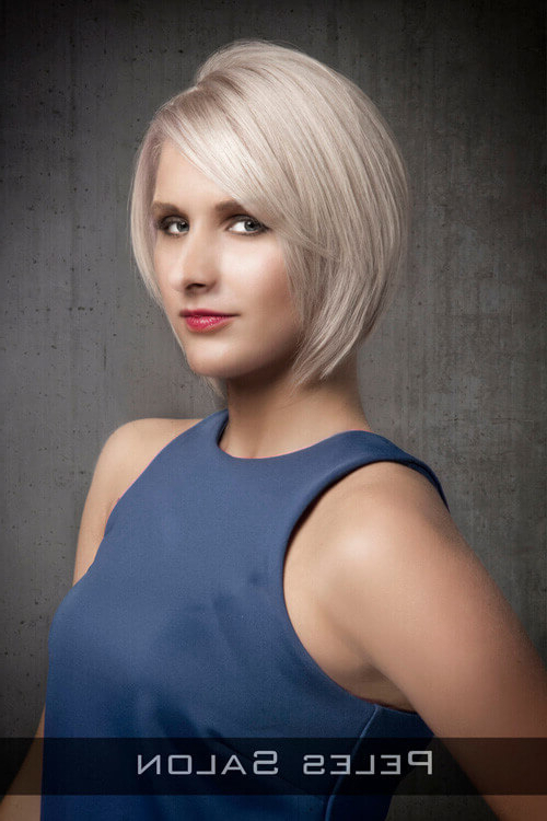 28 Most Flattering Bob Haircuts For Round Faces In 2018 Inside Sleek Blonde Bob Haircuts With Backcombed Crown (View 16 of 25)