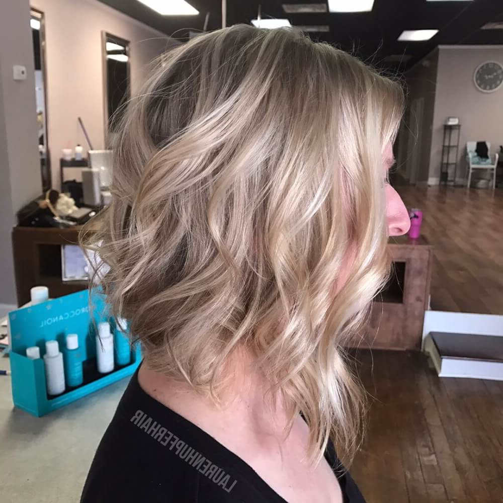 29 Cutest Long Bob Haircuts & Lob Styles Of 2018 Regarding Angelic Blonde Balayage Bob Hairstyles With Curls (View 21 of 25)